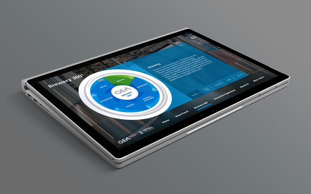silver tablet showing GEA digital touchscreen presentation of 360 degrees brewery