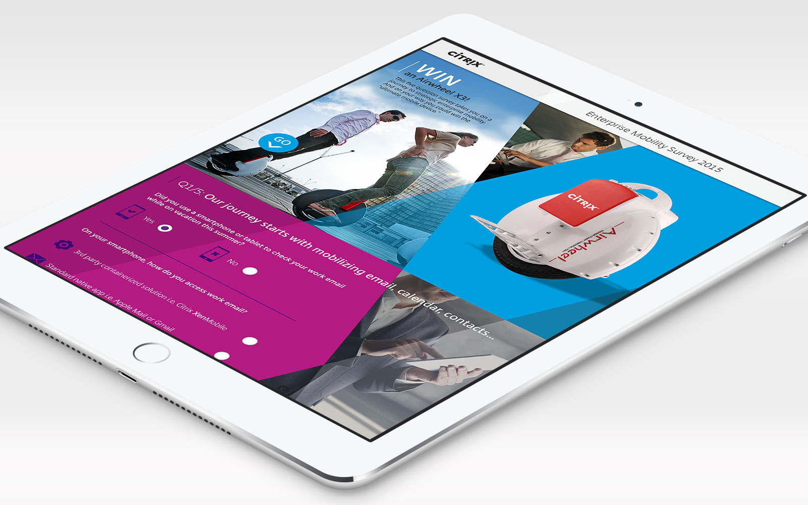 White iPad displaying Citrix digital touchscreen sales enablement tool