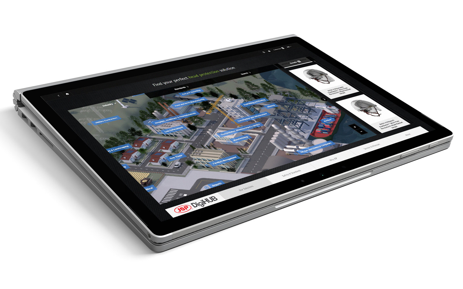 Touchscreen tablet displaying an interactive map example of JSP DigiHUB sales enablement tool