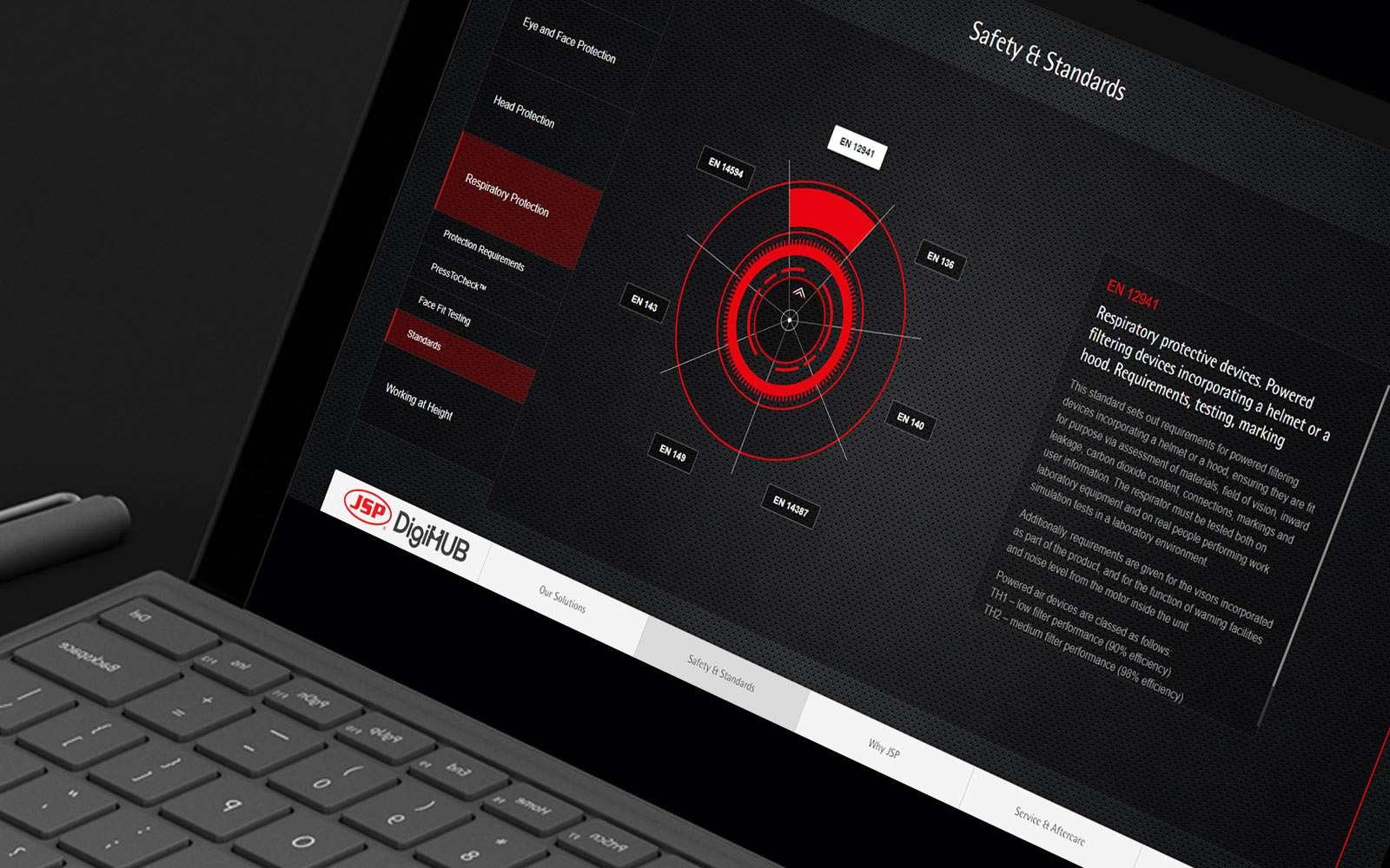 Black laptop displaying JSB DigiHUB digital sales enablement tool