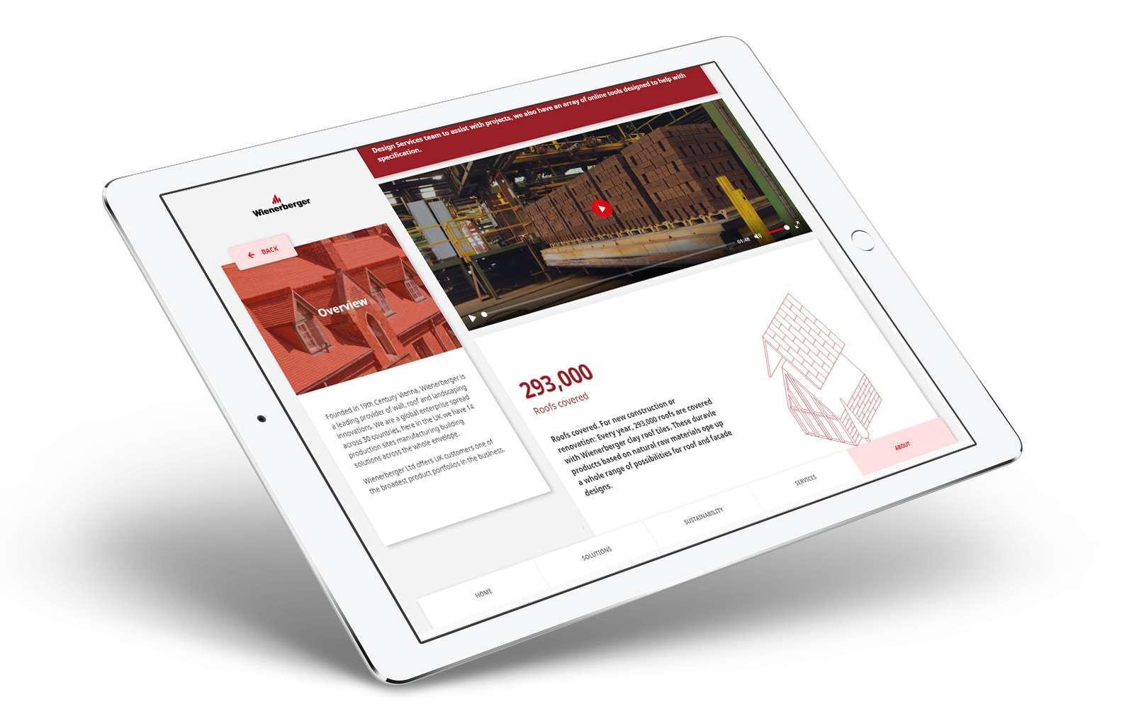 Wienerberger sales enablement app displayed on white iPad