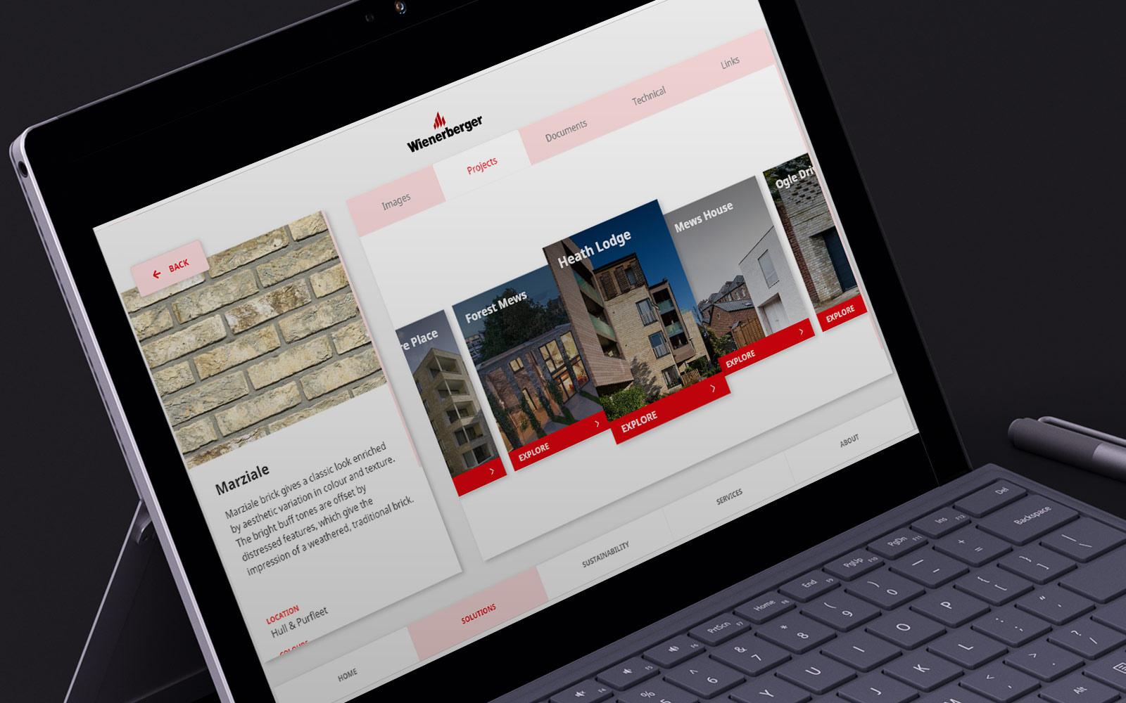 Wienerberger sales enablement app displayed on black laptop