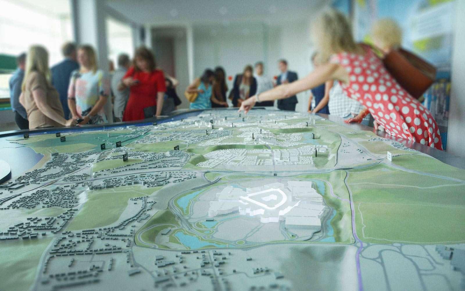 people interacting with Ebbsfleet interactive map