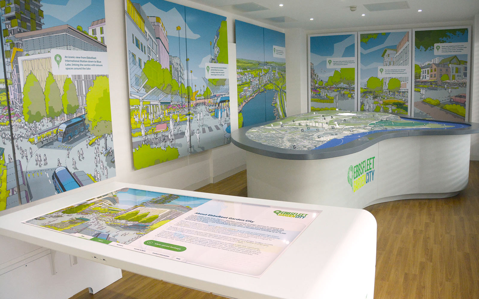 Eppfleet interactive display showing illustrated walls and large interactive touchscreen presentation on white table