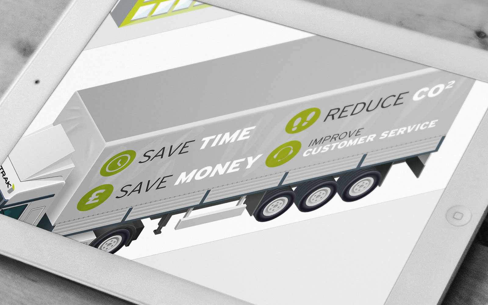 Isotrak interactive presentation of illustrated lorry shown on white tablet