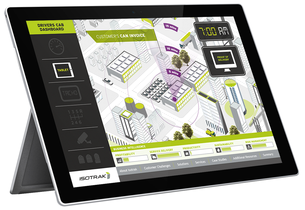 Isotrak interactive presentation of illustrated map shown on black tablet