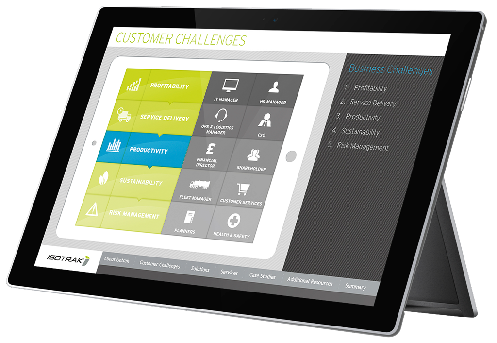 Isotrak interactive presentation shown on black tablet