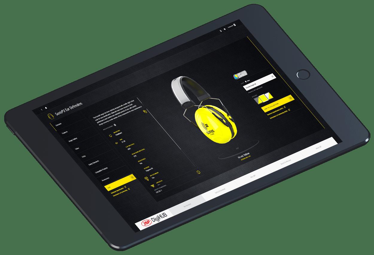 Black iPad displaying JSP DigiHUB interactive touchscreen presentation showing Sonis2 Ear Defenders