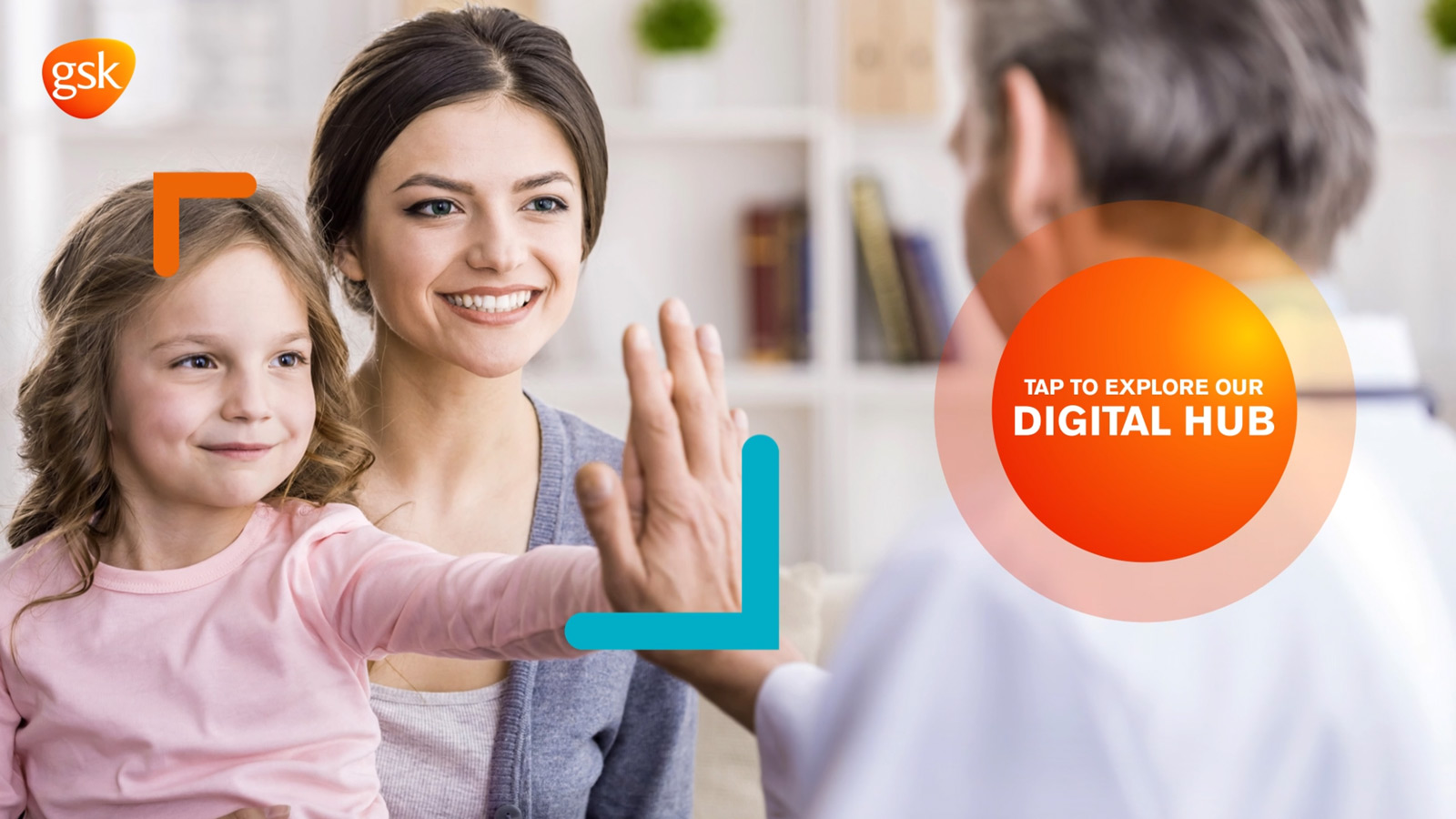 Home screen of GSK interactive display app showing mother and daughter high-fiving male doctor