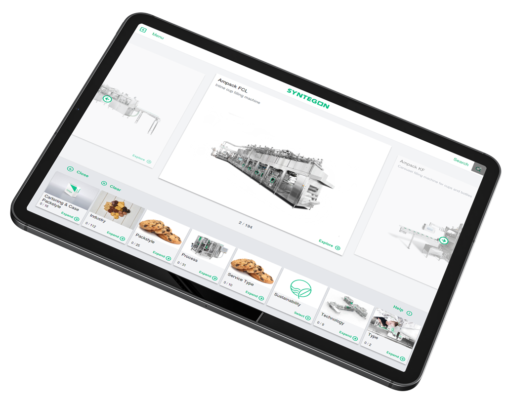 Black tablet displaying Syntegon interactive touchscreen digital presentation