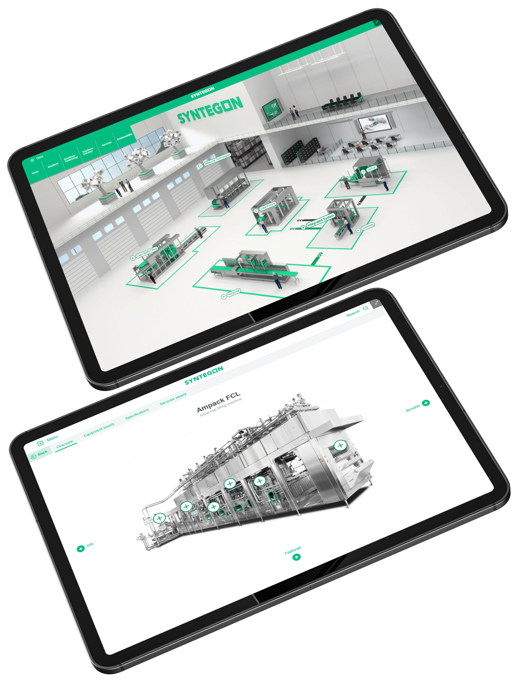 two black tablets displaying Syntegon interactive touchscreen digital presentation showing manufacturing office