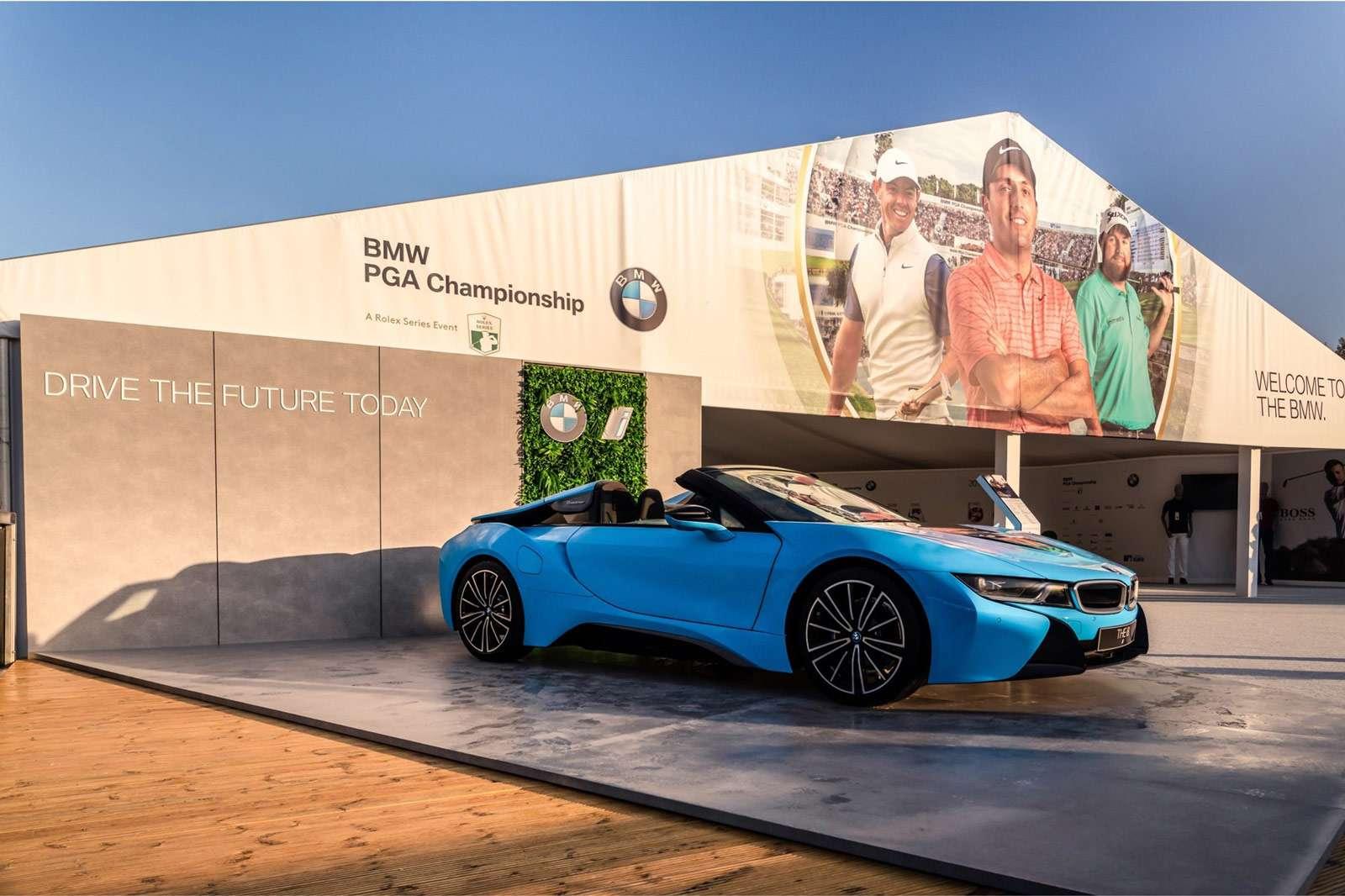 blue BMW soft-top sports car displayed at PGA Championship