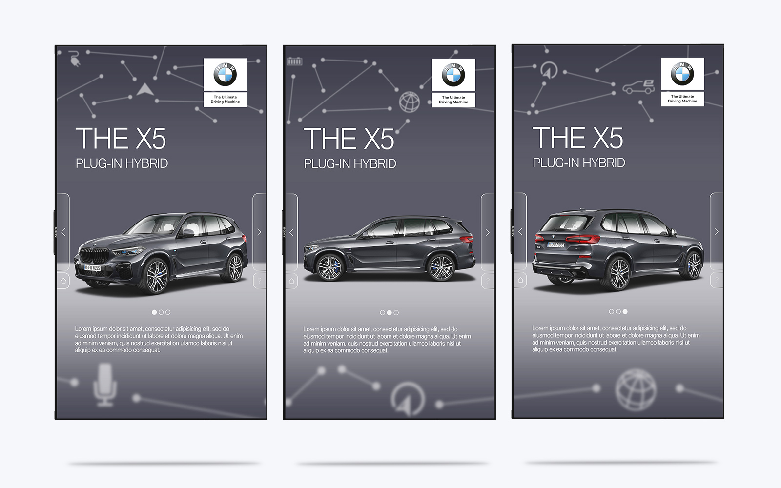 3 images displaying example of BMW digital display software