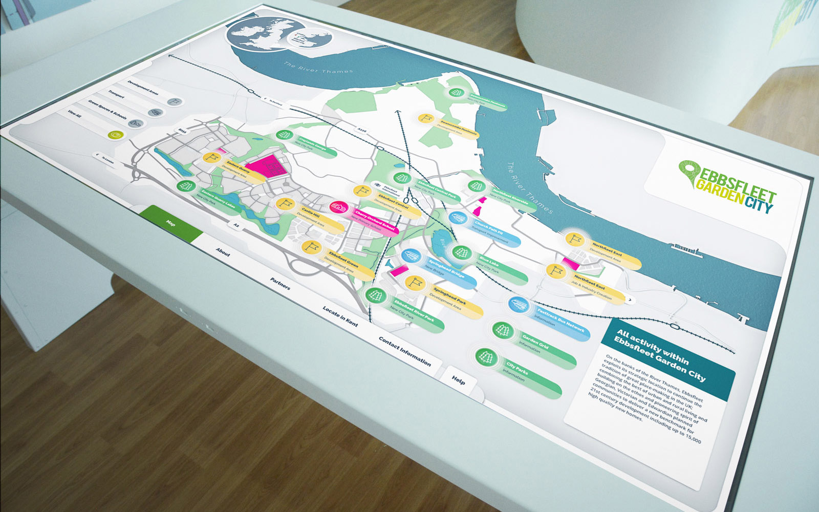 Ebbsfleet interactive map displayed on large touchscreen white monitor