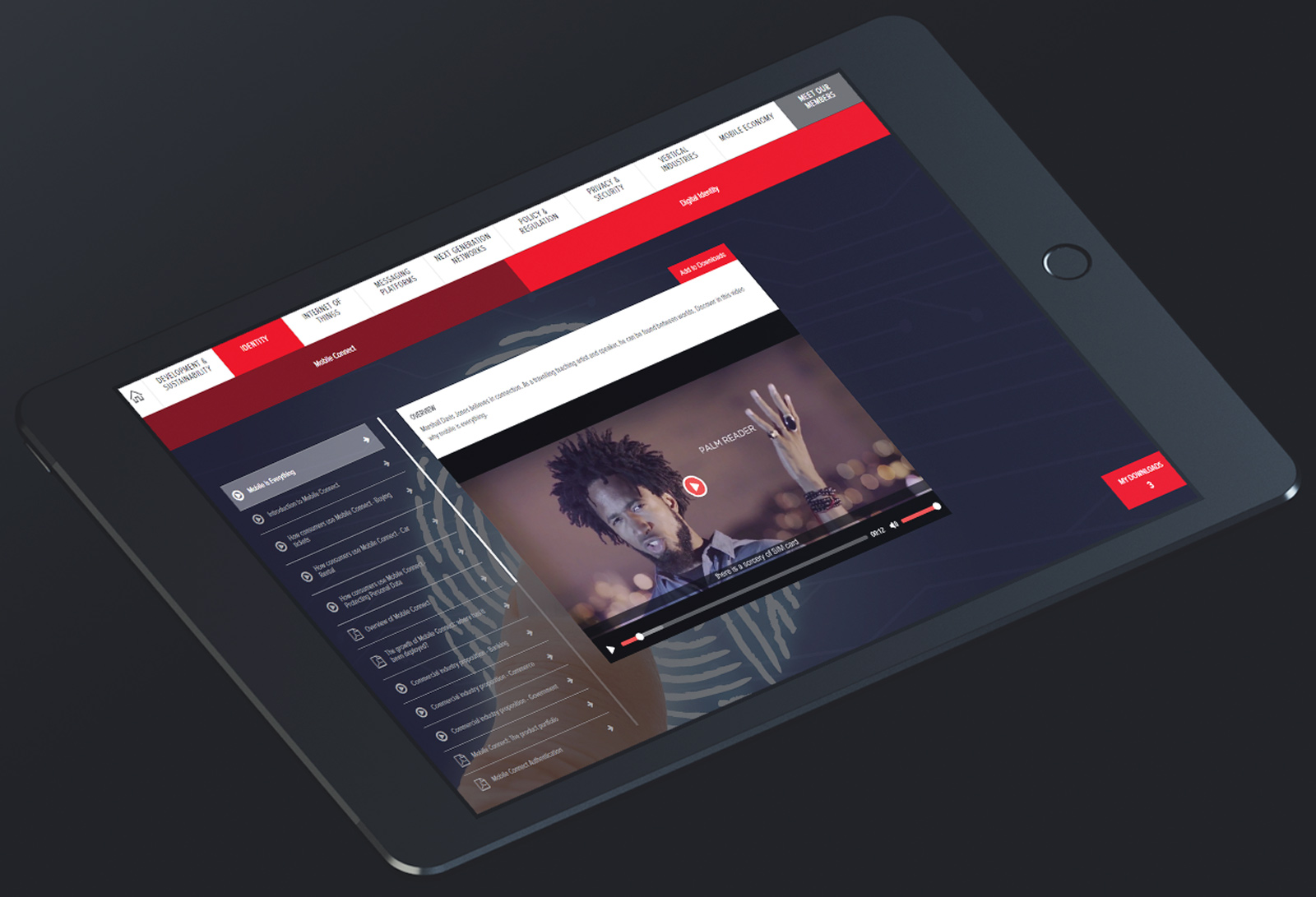 Black iPad displaying interactive touchscreen sales enablement tool