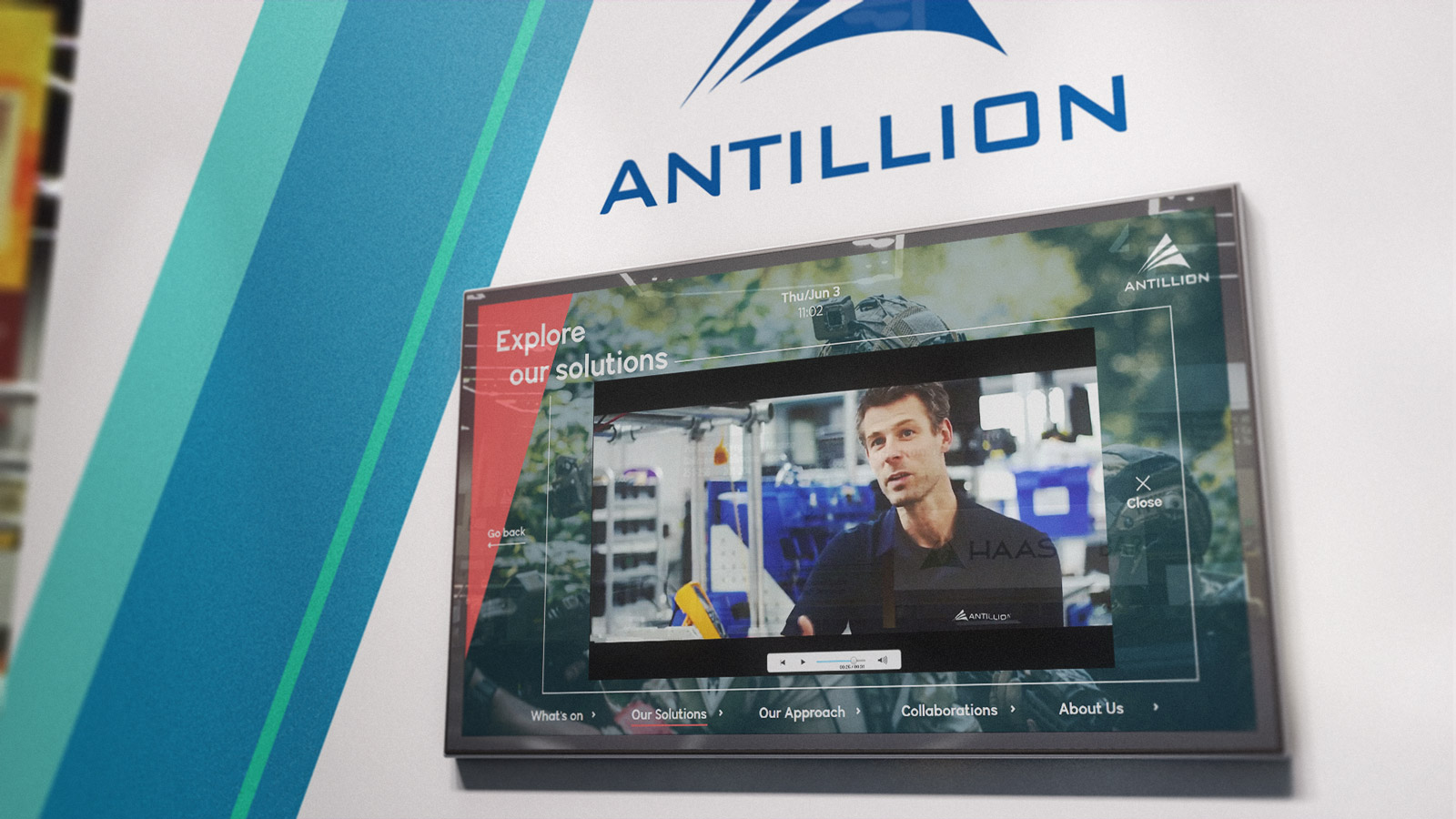 Antillion interactive presentation displayed on large screen on office wall