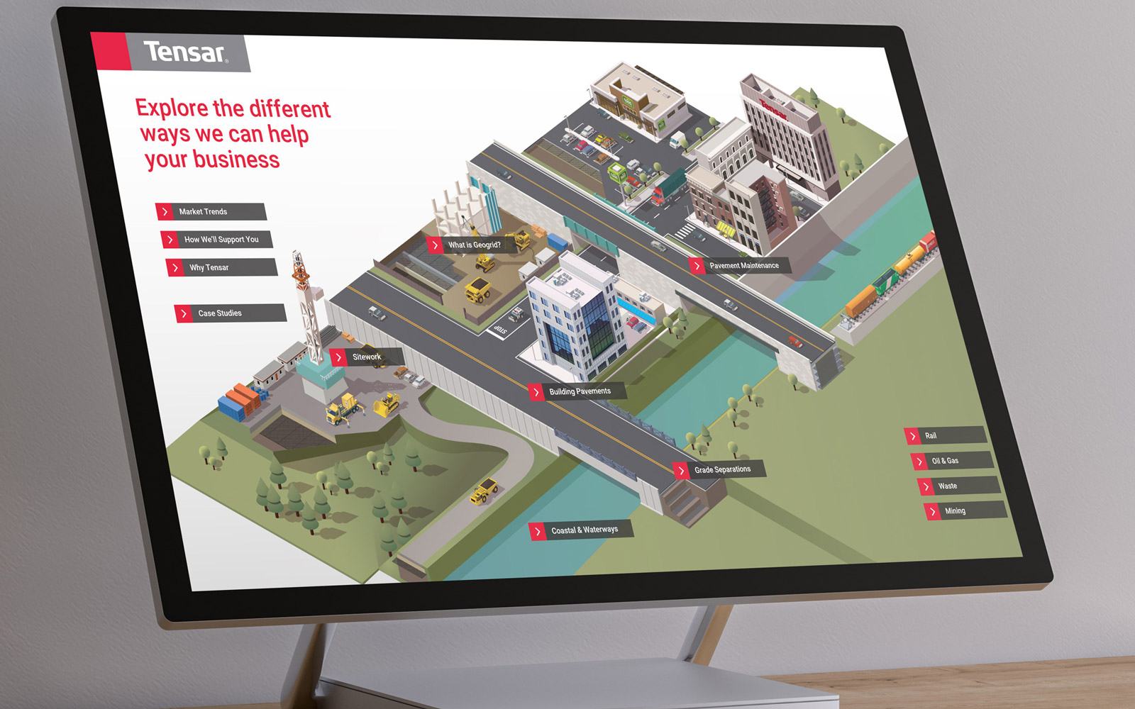 Large monitor displaying Tebsar interactive touchscreen presentation showing illustration of map