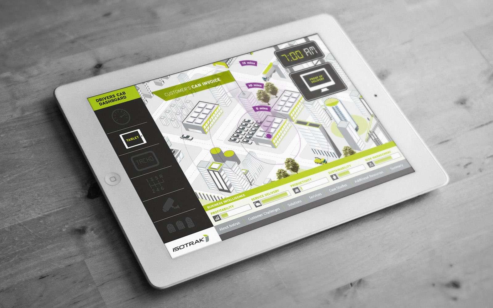 White iPad displaying Isotrak digital illustrated map on touchscreen presentation