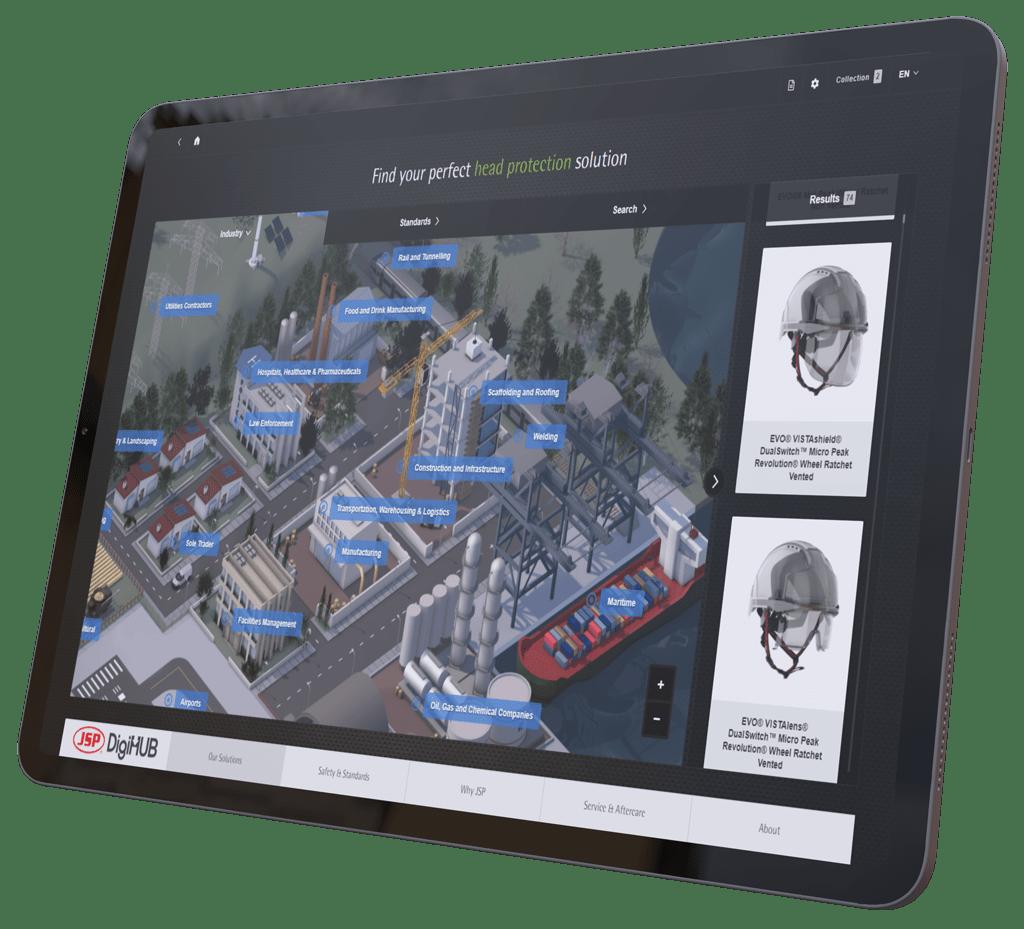 large touchscreen tablet showing JSP DigiHUB digital sale enablement presentation of interactive map