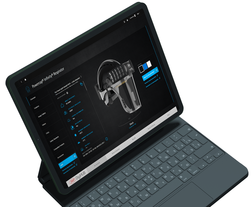 Black laptop displaying JSB DigiHUB digital sales enablement presentation Powercap Inifinity Respirator