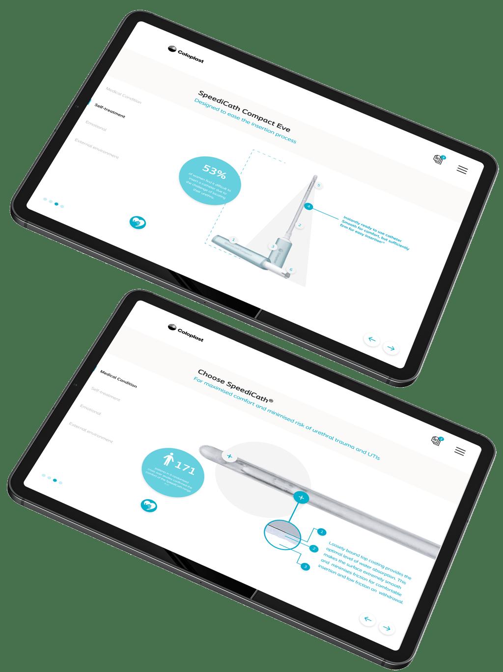 two black tablets displaying Coloplast interactive touchscreen digital presentation SpeediCath