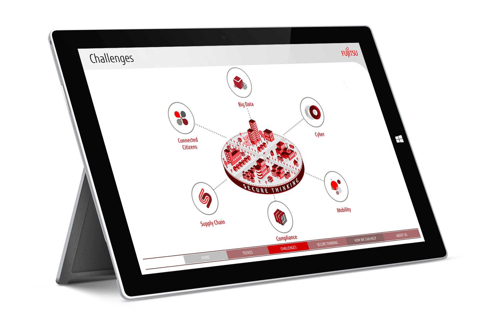 Fujitsu interactive touchscreen sales enablement tool displayed on black iPad