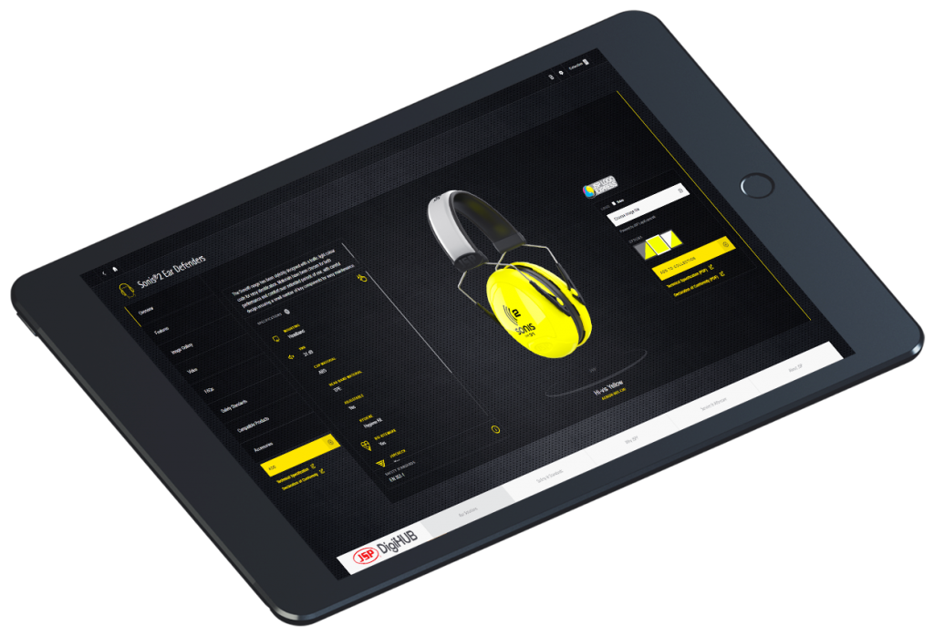 A picture of yellow ear defenders on JSP's sales enablement tool
