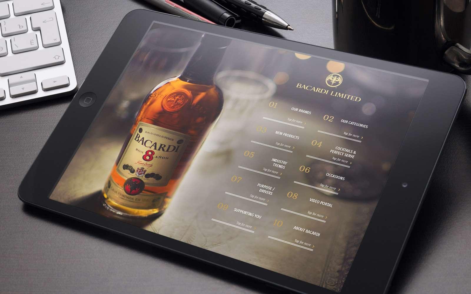 Barcadi interactive sales enable tool displayed on iPad